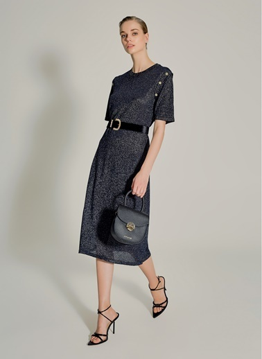 NGSTYLE Düğme Detaylı Triko Elbise Siyah